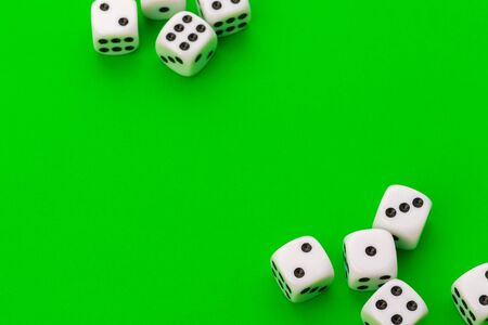 Sport dice on green background Stock Photo