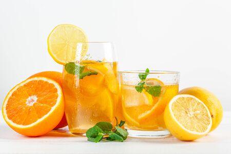Citrus lemonade,summer drink. creative photo.