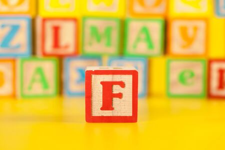 Photograph of colorful Wooden Block Letter F creative photo.