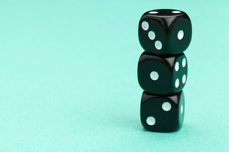 Gaming dices on blue background. Game concept. creative photo.