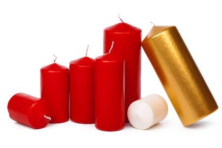 Many colorful candles isolated on white background. creative photo.