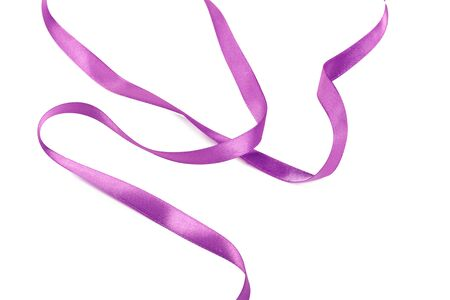 Lilac ribbon bow isolated on white background. creative photo.