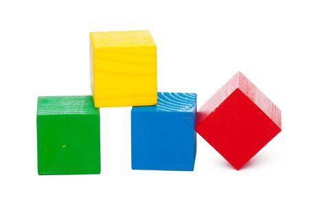 Wooden building blocks isolated on white background. creative photo. 版權商用圖片