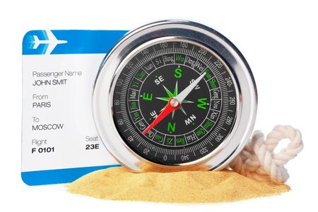 Time to Travel. Idea for tourism with ticket and compass isolated. Concept on the theme of flights Banque d'images