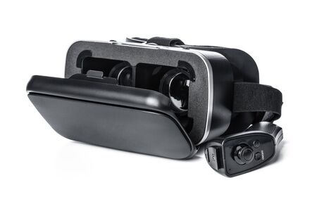 VR. Virtual reality glasses on white background creative photo.