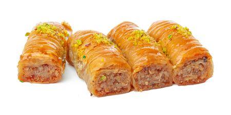 Turkish Ramadan Dessert Baklava isolated on white. creative photo.