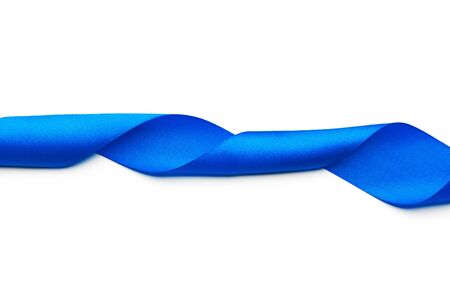 Beautiful blue ribbon on white background Stock Photo
