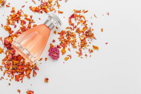 Elegant female perfume. close up. creative photo.