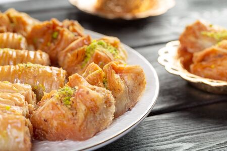 traditional dessert baklava,well known in middle east and delicious creative photo.