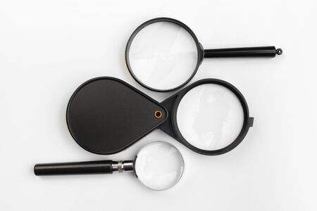 Magnifying glass isolated on white. creative photo.