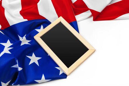 Blank frame on American flag background Standard-Bild