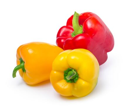 red and yellow peppers isolated on white background. Close up.
