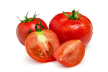 Tomatoes. Whole and a half isolated on white. Close up. Archivio Fotografico