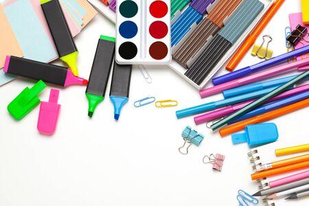 good preparation for school subjects. School accessories of color plasticine, multi-colored pencils. Close up. Imagens