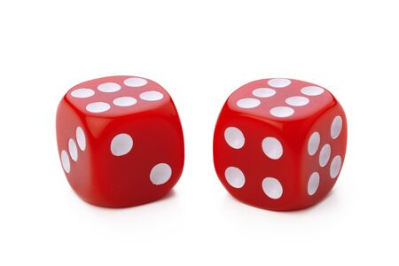 red dice isolated on white background. Close up.