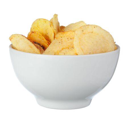Potato chips on bowl isolated on white background Stock Photo