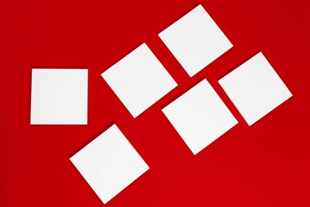 Photo. Template for branding identity. For graphic designers presentations and portfolios. Red and white. Close up.