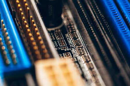 Close up of a electronic circuit board with processor. Close up.