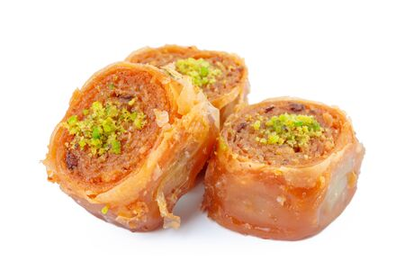Turkish Ramadan Dessert Baklava isolated on white Foto de archivo