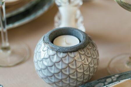 Stylish ceramic round candle stand Imagens