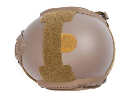 Camouflage military helmet isolated on white background 版權商用圖片