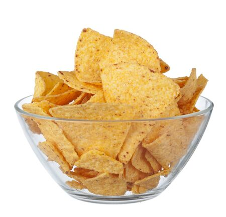 Potato chips on bowl isolated on white background. Close up.