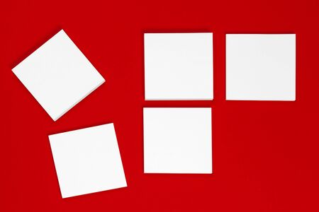 Photo. Template for branding identity. For graphic designers presentations and portfolios. Red and white. Close up. Foto de archivo
