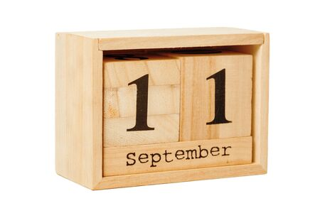 wood calendar isolated on white background