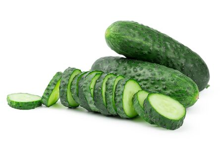 cucumber sliced isolated on white background