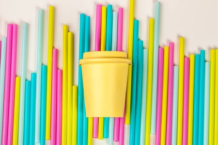 Colorful straws for beverage soft drink on colored