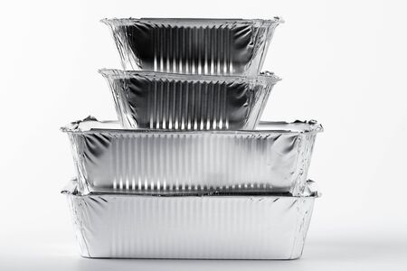 Takeaway meal in foil food box on white background close up Stock fotó