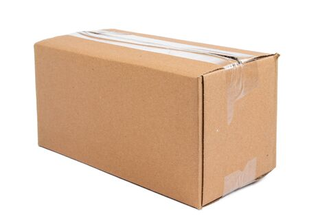 Single carton moving box isolated on white background Stock fotó