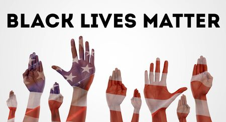 Black lives matter. Anti-racism concept with peoples hands against american flag