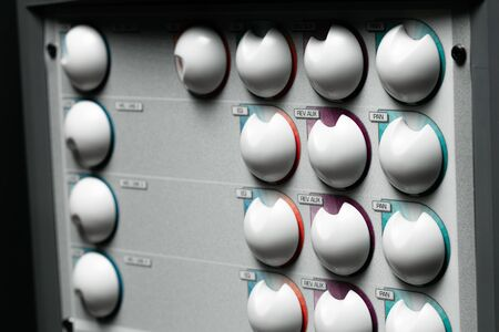 Music stereo system amplifier close up photo Stock Photo