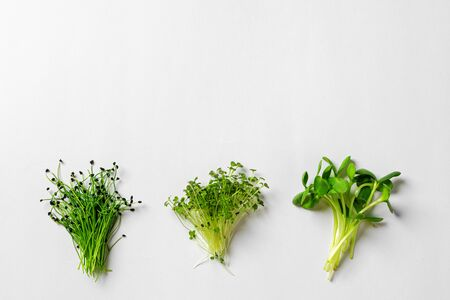 Top view of little bunch of micro greens on paper background
