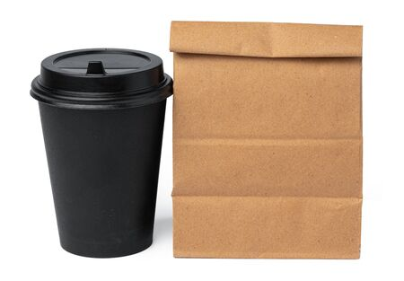 Craft paper bag with coffee cup isolated on white background