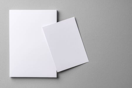 Business mock up cards with copy space on grey background