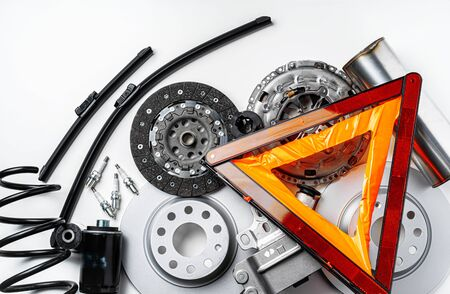 New metal auto parts on grey background , top view Banque d'images