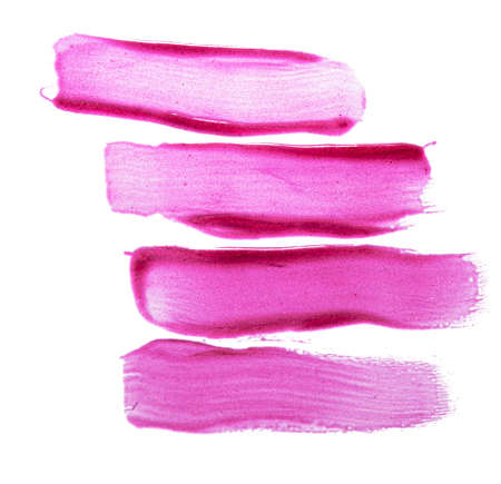 Pink lip gloss swatch isolated on white
