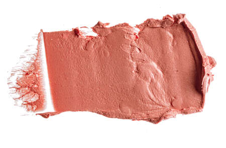Stains of a pink lipstick isolated on white background