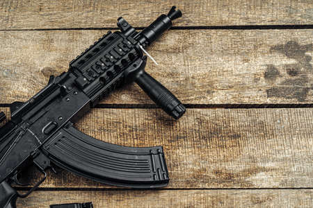 Russian automatic rifle close up, military weapon