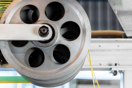 Cable production. Close up of a cable reel