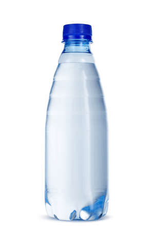 Small bottle of mineral water in plastic isolated on white background Imagens