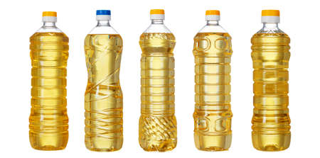 Sunflower oil bottles collage isolated on white background