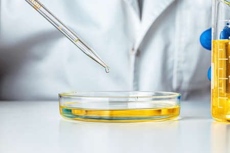 Close up of hands of a scientist working with laboratory samples Stock Photo