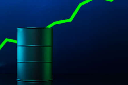 Price of american oil is changing concept. Black barrel with oil and graph Stock Photo