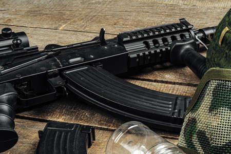 Russian automatic rifle Ak-47 close up, military weapon Stock Photo