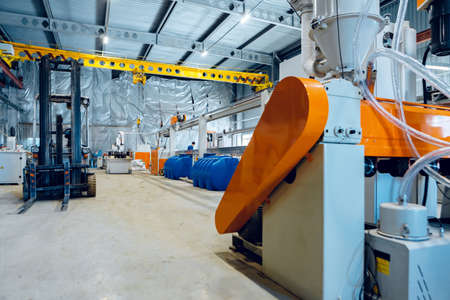 Inside the new factory manufacturing electrical cable. Cable production.