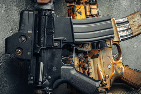 Modern weapon series. US Army assault rifle, close up.