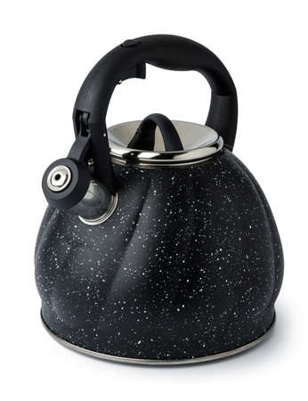 Metal kettle for gas stove on white background
